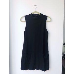 Black mod mini dress with turtleneck - S
